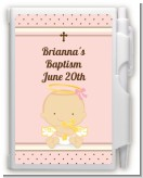 Angel Baby Girl Caucasian - Baptism / Christening Personalized Notebook Favor