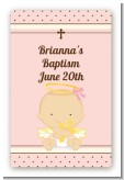 Angel Baby Girl Caucasian - Custom Large Rectangle Baptism / Christening Sticker/Labels