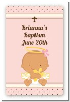 Angel Baby Girl Hispanic - Custom Large Rectangle Baptism / Christening Sticker/Labels
