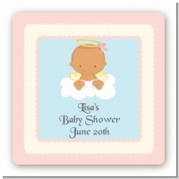 Angel in the Cloud Girl Hispanic - Square Personalized Baby Shower Sticker Labels