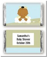 Angel in the Cloud Boy African American - Personalized Baby Shower Mini Candy Bar Wrappers