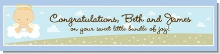Angel in the Cloud Boy - Personalized Baby Shower Banners