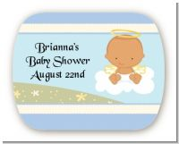Angel in the Cloud Boy Hispanic - Personalized Baby Shower Rounded Corner Stickers