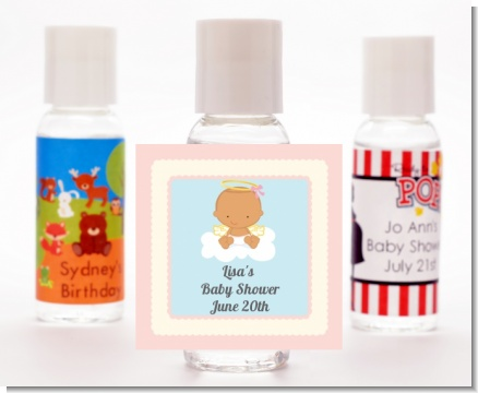 Angel in the Cloud Girl Hispanic - Personalized Baby Shower Hand Sanitizers Favors