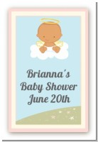 Angel in the Cloud Girl Hispanic - Custom Large Rectangle Baby Shower Sticker/Labels