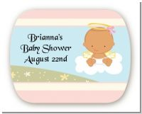 Angel in the Cloud Girl Hispanic - Personalized Baby Shower Rounded Corner Stickers