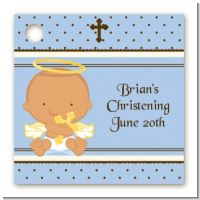 Angel Baby Boy Hispanic - Personalized Baptism / Christening Card Stock Favor Tags