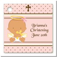Angel Baby Girl Hispanic - Personalized Baptism / Christening Card Stock Favor Tags