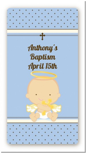Angel Baby Boy Caucasian - Custom Rectangle Baptism / Christening Sticker/Labels