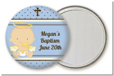 Angel Baby Boy Caucasian - Personalized Baptism / Christening Pocket Mirror Favors