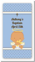 Angel Baby Boy Hispanic - Custom Rectangle Baptism / Christening Sticker/Labels