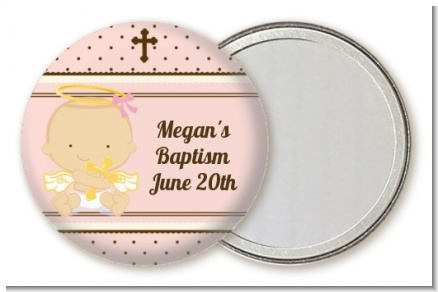 Angel Baby Girl Caucasian - Personalized Baptism / Christening Pocket Mirror Favors