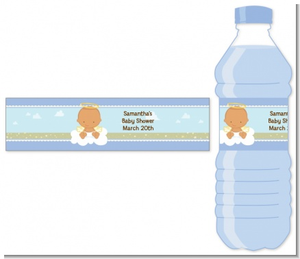 Angel in the Cloud Boy Hispanic - Personalized Baby Shower Water Bottle Labels