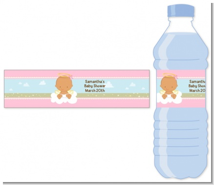 Angel in the Cloud Girl Hispanic - Personalized Baby Shower Water Bottle Labels