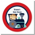Animal Train - Round Personalized Baby Shower Sticker Labels thumbnail