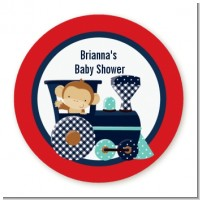 Animal Train - Round Personalized Baby Shower Sticker Labels