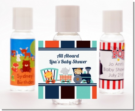 Animal Train - Personalized Baby Shower Hand Sanitizers Favors