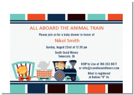 Animal Train - Baby Shower Petite Invitations