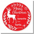 Festive Antlers - Round Personalized Christmas Sticker Labels thumbnail
