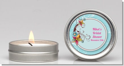 Aqua & Brown Floral - Birthday Party Candle Favors