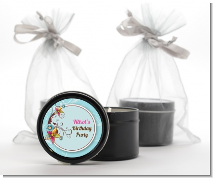 Aqua & Brown Floral - Birthday Party Black Candle Tin Favors