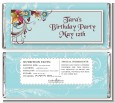 Aqua & Brown Floral - Personalized Birthday Party Candy Bar Wrappers thumbnail