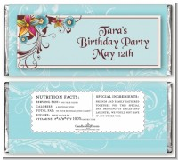 Aqua & Brown Floral - Personalized Birthday Party Candy Bar Wrappers