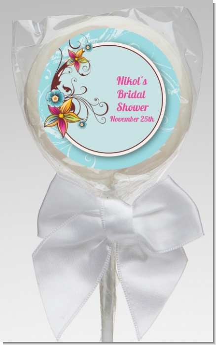 Aqua & Brown Floral - Personalized Birthday Party Lollipop Favors