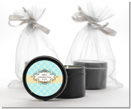 Aqua & Yellow - Graduation Party Black Candle Tin Favors