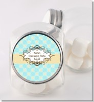 Aqua & Yellow - Personalized Graduation Party Candy Jar