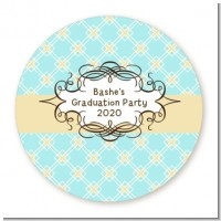 Aqua & Yellow - Round Personalized Graduation Party Sticker Labels