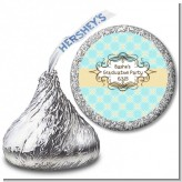 Aqua & Yellow - Hershey Kiss Graduation Party Sticker Labels