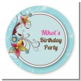 Aqua & Brown Floral - Round Personalized Birthday Party Sticker Labels thumbnail