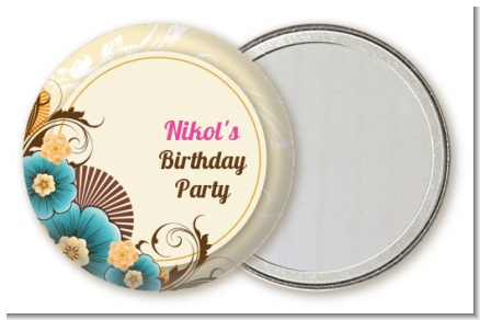 Aqua & Brown Floral - Personalized Birthday Party Pocket Mirror Favors
