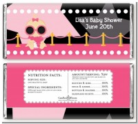 A Star Is Born Hollywood Black|Pink - Personalized Baby Shower Candy Bar Wrappers