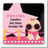 A Star Is Born Hollywood Black|Pink - Square Personalized Baby Shower Sticker Labels