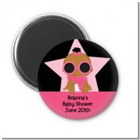 A Star Is Born Hollywood Black|Pink - Personalized Baby Shower Magnet Favors