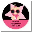 A Star Is Born Hollywood Black|Pink - Round Personalized Baby Shower Sticker Labels thumbnail