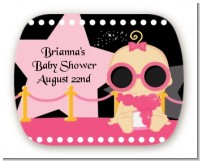 A Star Is Born Hollywood Black|Pink - Personalized Baby Shower Rounded Corner Stickers