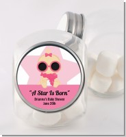 A Star Is Born Hollywood White|Pink - Personalized Baby Shower Candy Jar