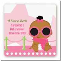 A Star Is Born Hollywood White|Pink - Square Personalized Baby Shower Sticker Labels