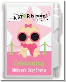 A Star Is Born Hollywood White|Pink - Baby Shower Personalized Notebook Favor