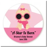 A Star Is Born Hollywood White|Pink - Round Personalized Baby Shower Sticker Labels