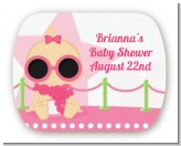 A Star Is Born Hollywood White|Pink - Personalized Baby Shower Rounded Corner Stickers