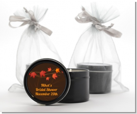 Autumn Leaves - Bridal Shower Black Candle Tin Favors