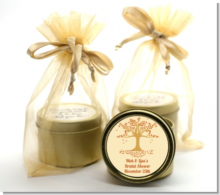 Autumn Tree - Bridal Shower Gold Tin Candle Favors