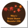 Autumn Leaves - Round Personalized Bridal Shower Sticker Labels thumbnail
