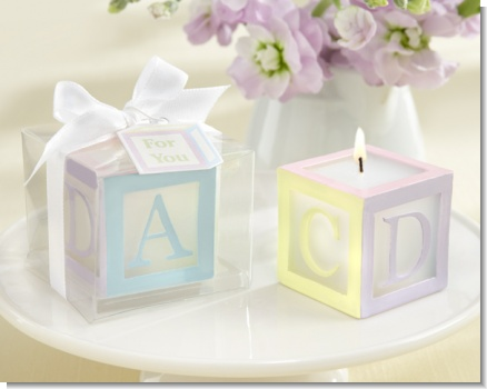 """B is for Baby"" Lettered Baby Block Candle (Set of 4)"
