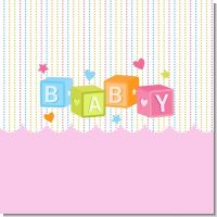 Baby Blocks Pink Baby Shower Theme