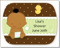 Baby Neutral African American - Personalized Baby Shower Rounded Corner Stickers